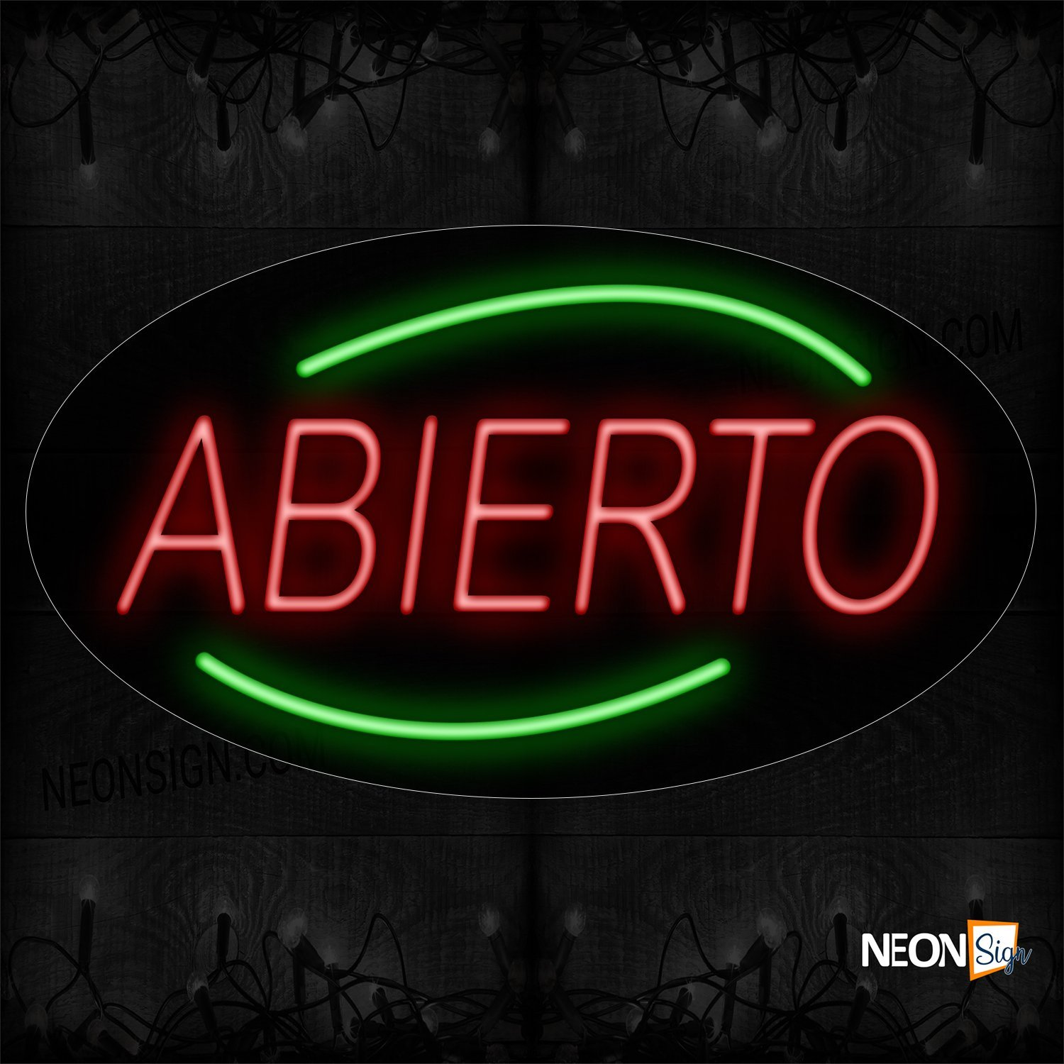 Image of Abierto In Red With Green Arc Border Neon Sign