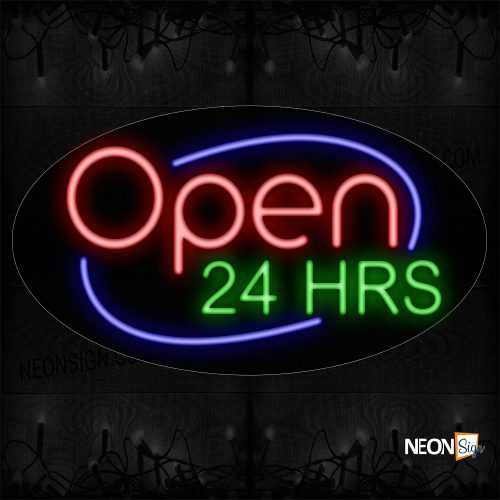 Image of Open 24 Hrs With Circle Border Neon Sign