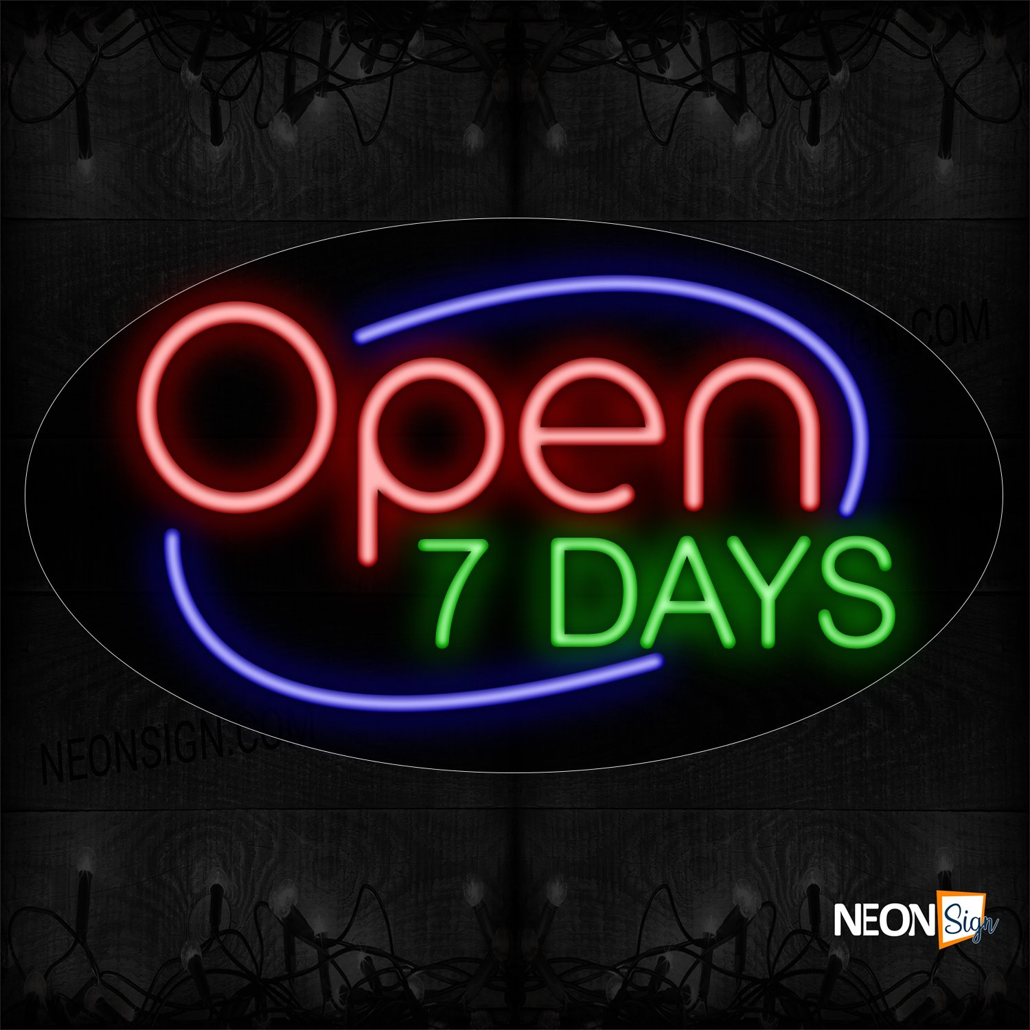 Image of Open 7 Days With Blue Arc Border Neon Sign