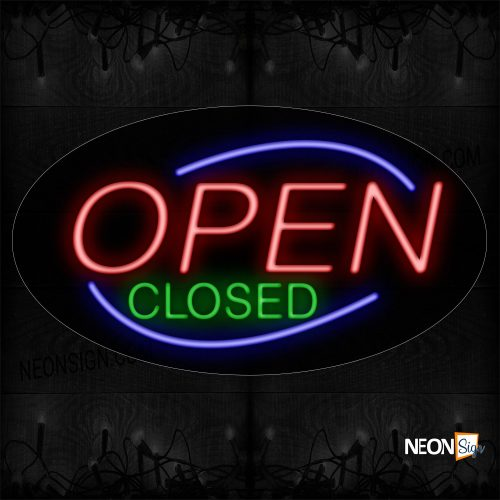 Image of Open Closed With Blue Border Neon Sign