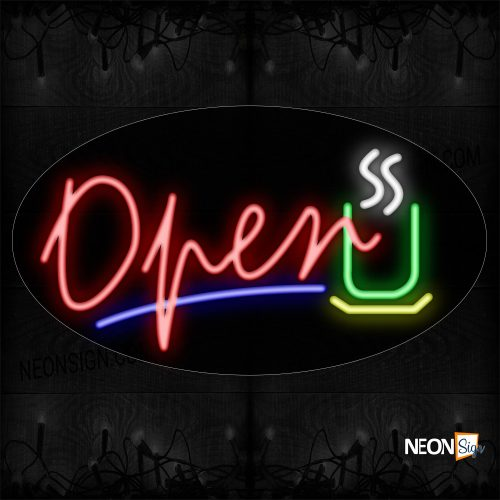 Image of Open In Red With Blue Line And Logo Neon Sign
