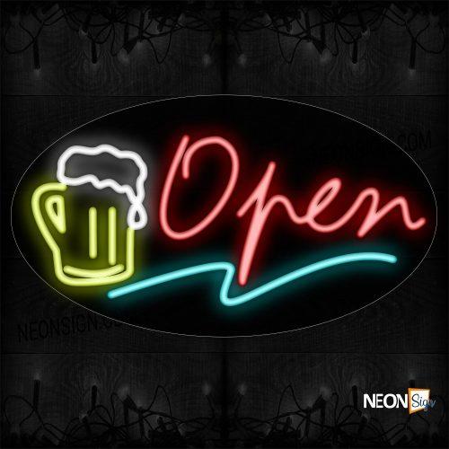 Image of Open With Wavy Underline & Mug Logo Neon Sign
