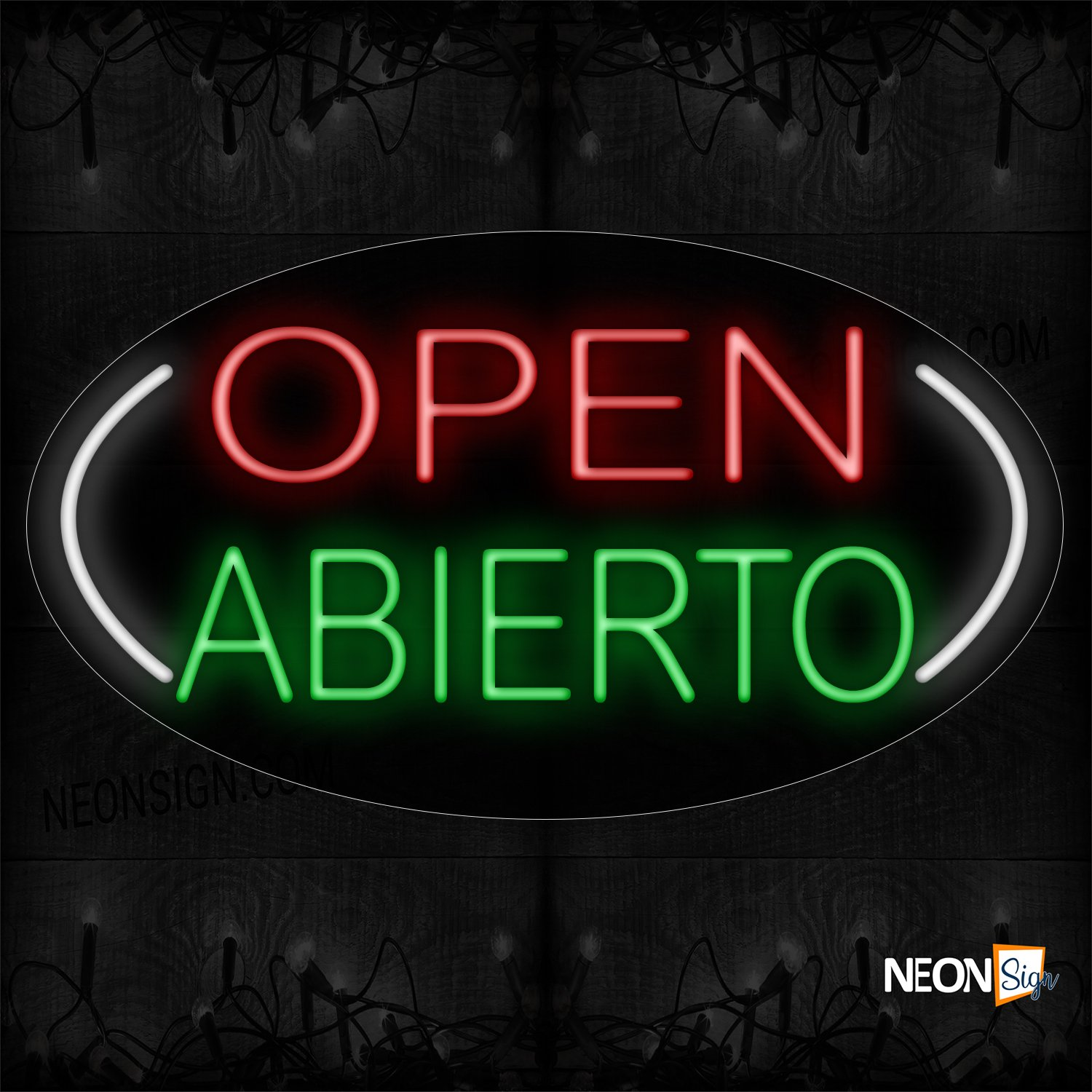 Image of Open Abierto 2 Lines All Caps On White Ellipse Traditional Neon