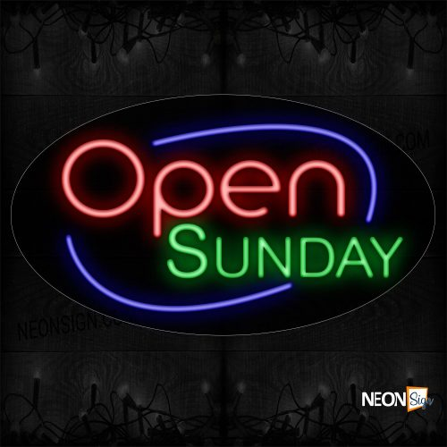 Image of Open Sunday With Blue Arc Border Neon Sign