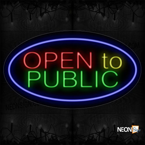 Image of Open To Public With Blue Oval Border Neon Sign