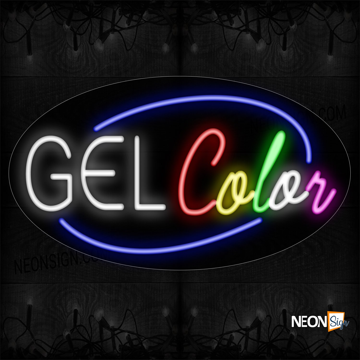 Image of Gel Color With Circle Border Neon Sign