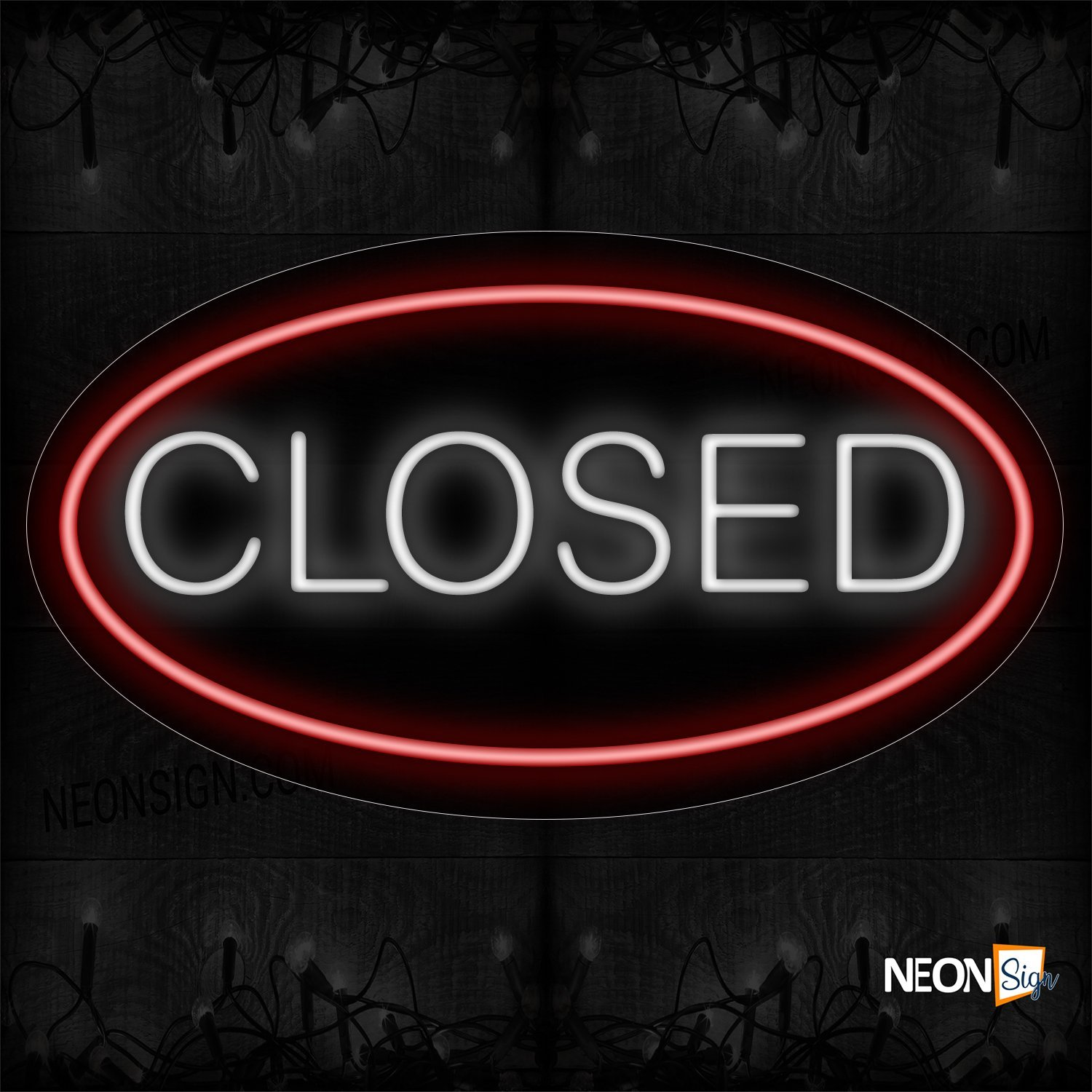 Image of Closed In White With Red Oval Border Neon Sign