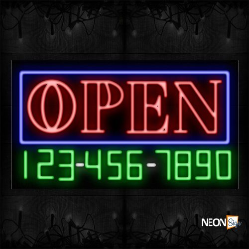 Image of Double Stroke Open And Phone Number With Blue Border Neon Sign