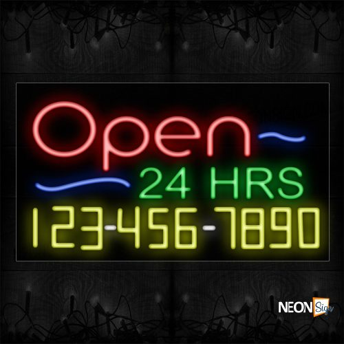 Image of Open 24 Hrs Phone # And Blue Lines Neon Sign