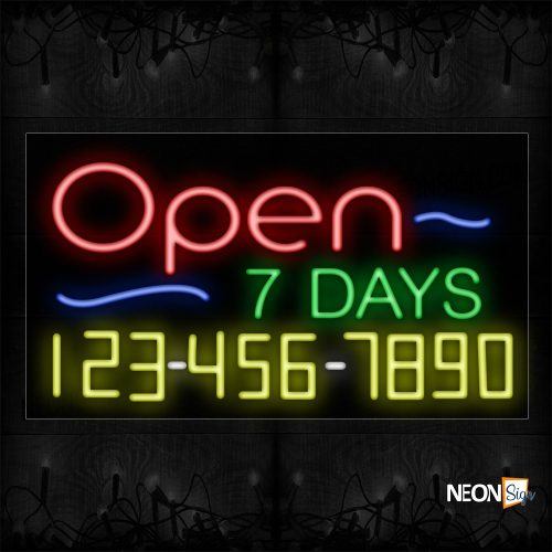 Image of Open 7 Days And Phone Number Neon Sign