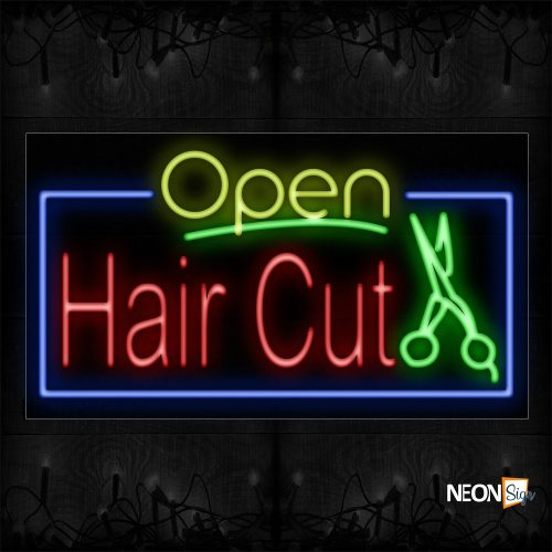 Image of Open Haircut And Scissor With Blue Border Neon Sign