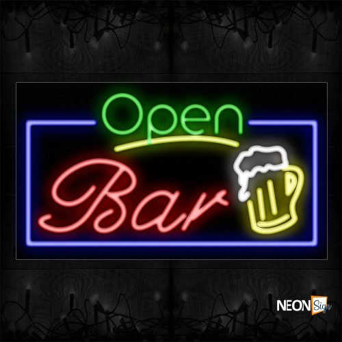 Image of Open Bar With Blue Border And Beer Mug Neon Sign