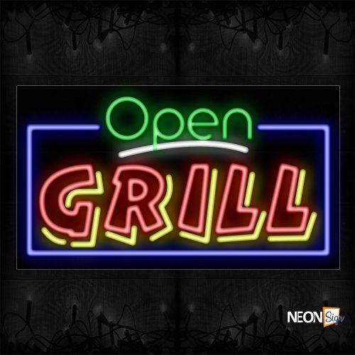 Image of Open Grill(Double Stroke) With Blue Border Neon Sign