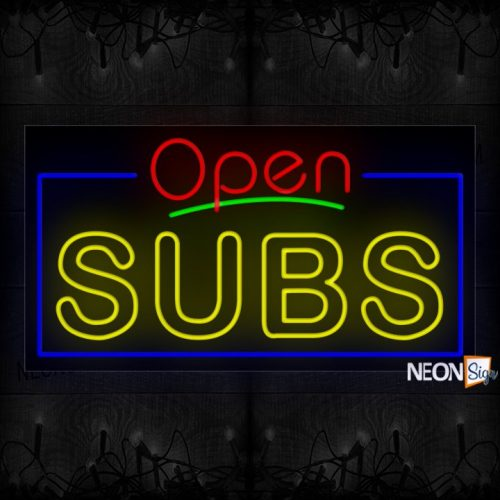 Image of Open Subs (Double Stroke) With Blue Border Neon Sign