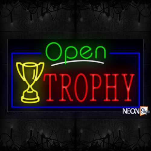 Image of Open Trophy With Logo And Blue Border Neon Sign