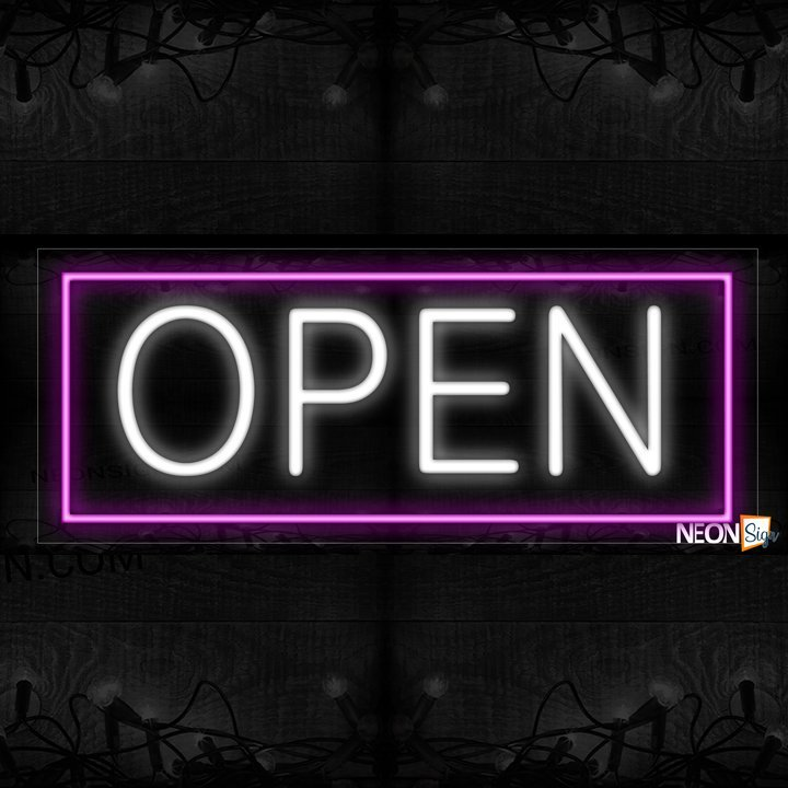 Image of Open in white With Purple Border Neon Sign