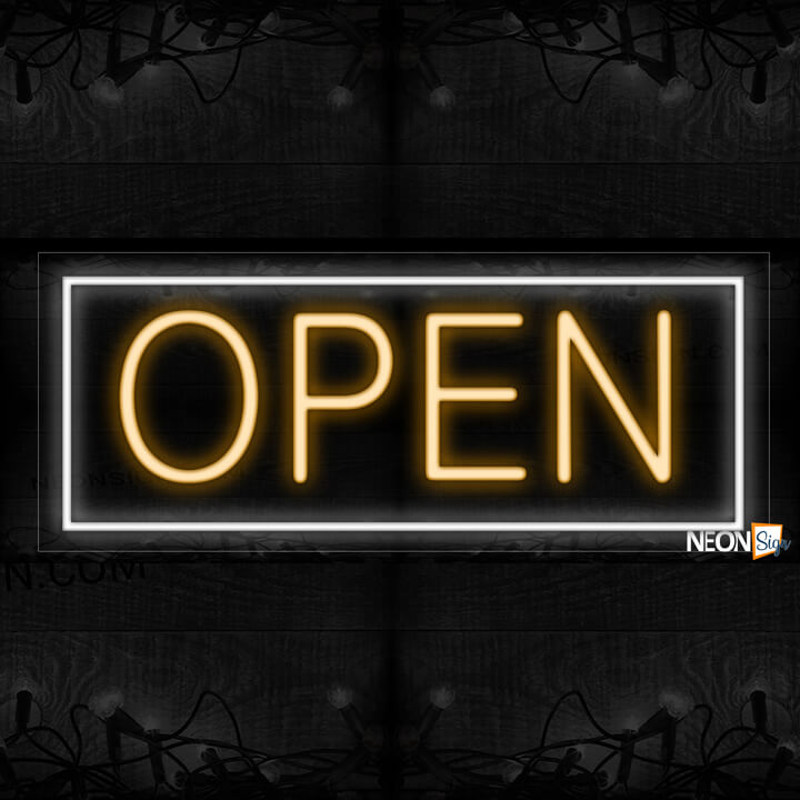 Image of Open in orange With White Border Neon Sign