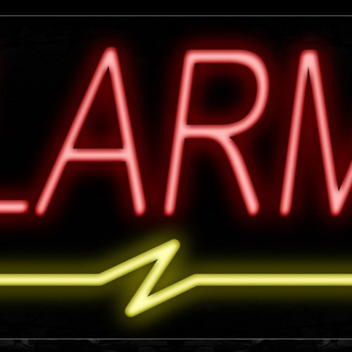 Image of 10007 Alarms with wavy underline Neon Sign_13x32 Black Backing