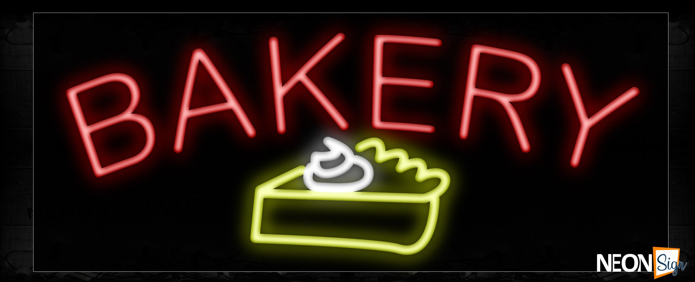 Image of 10015 Bakery with pie logo Neon Sign_13x32 Black Backing