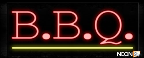 Image of 10019 B.B.Q. In Red With Yellow Line Neon Signs_13x32 Black Backing
