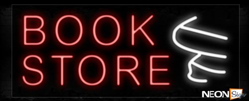 Image of 10024 Bookstore With Logo In White Neon Signs_13x32 Black Backing