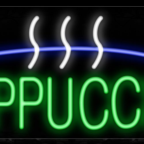 Image of 10029 Cappuccino with blue and white lines Neon Sign_13x32 Black Backing