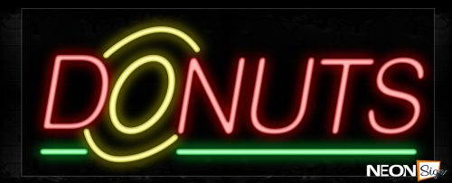 Image of 10050 Donuts With Green Line Neon Signs_13x32 Black Backing