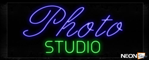 Image of 10109 Photo Studio in purple and green Neon Signs_13x27 Black Backing