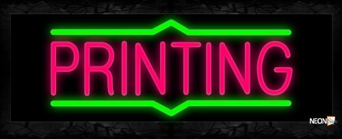 Image of 10114 Printing with border line Neon Signs 13x32 Black Backing