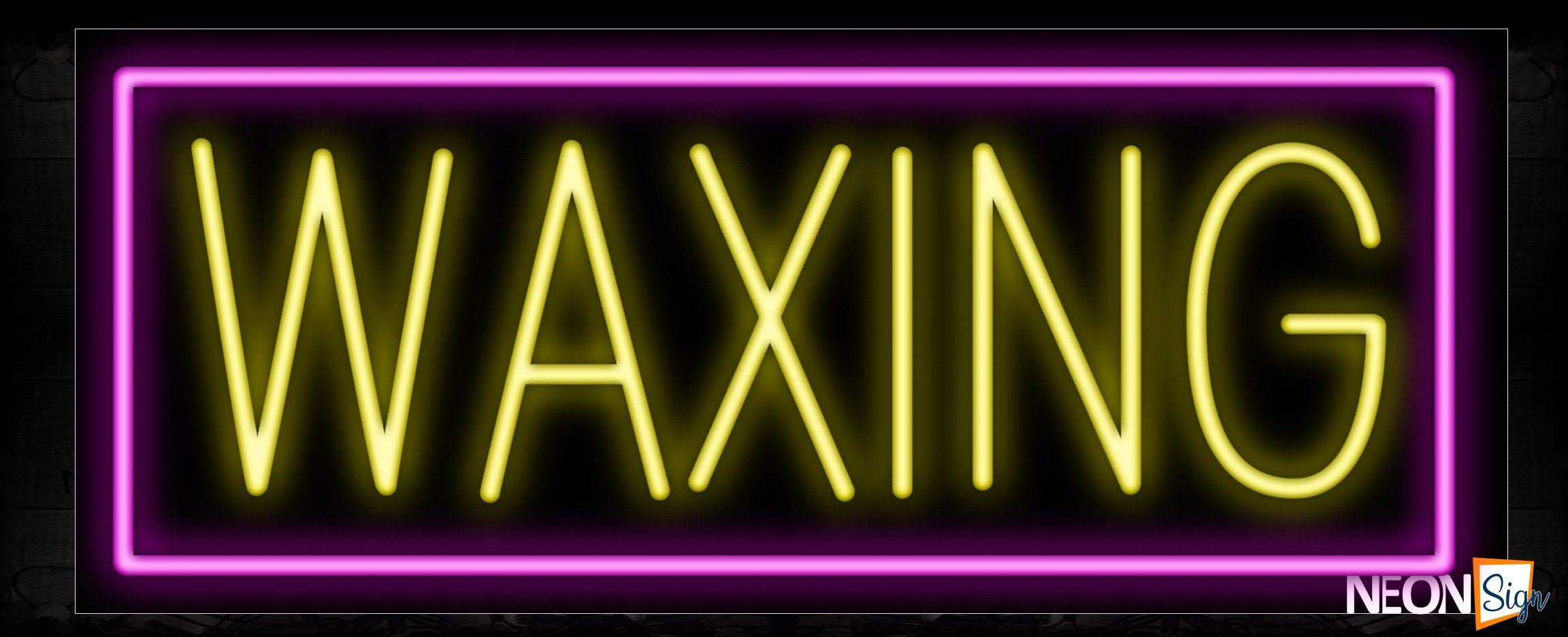 Image of 10145 Waxing in yellow with pink border Neon Sign_13x32 Black Backing