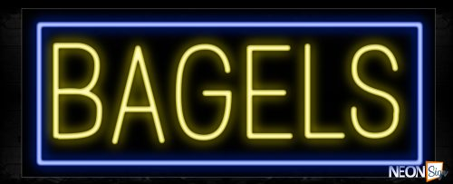 Image of 10151 Bagels with blue border Neon Sign_13x32 Black Backing