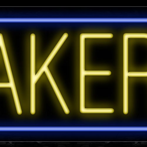 Image of 10179 Bakery in yellow with blue border Neon Sign_13x32 Black Backing