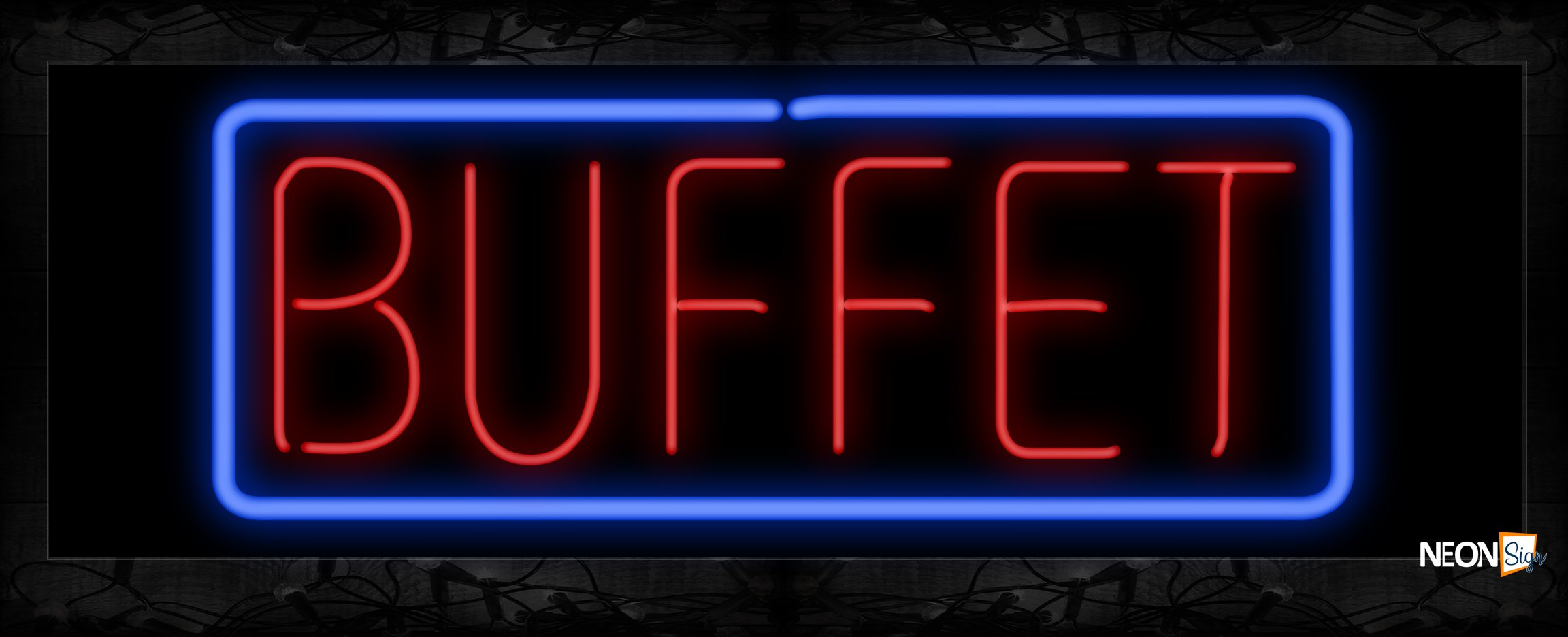 Image of 10183 Buffet in red with blue border Neon Sign 13x32 Black Backing