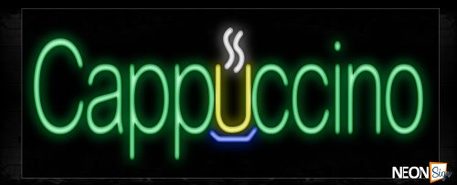 Image of 10186 Cappuccino with logo Neon Sign_13x32 Black Backing