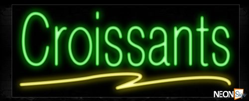 Image of 10187 Croissants in green and yellow line Neon Sign_13x32 Black Backing
