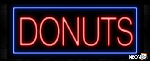 Image of 10190 Donuts with border Neon Sign_13x32 Black Backing