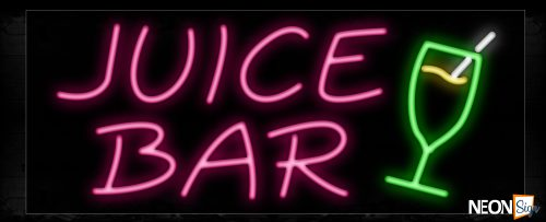 Image of 10193 Juice Bar with glass logo Neon Sign_13x32 Black Backing