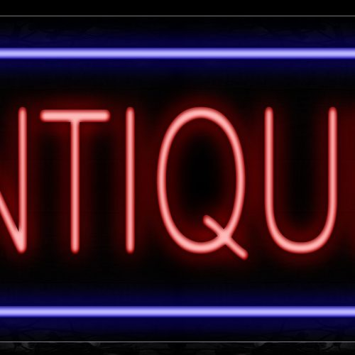 Image of 10204 Antiques In Red With Blue Border Neon Sign_20x37 Contoured Black Backing