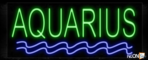 Image of 10206 Aquariums With Wavy Line Neon Sign_13x32 Black Backing