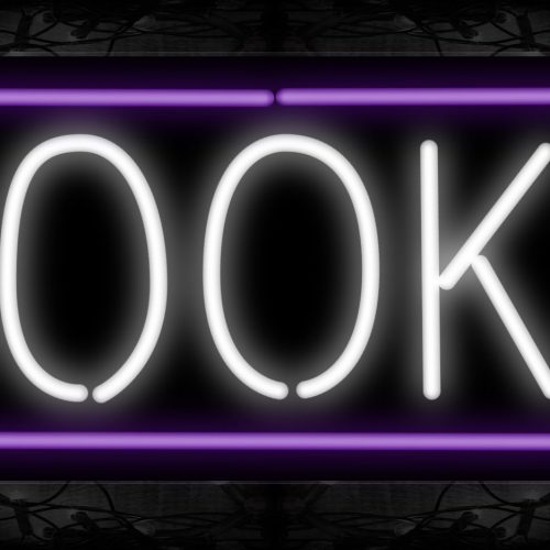 Image of 10213 Books in white with purple border Neon Sign 13x32 Black Backing