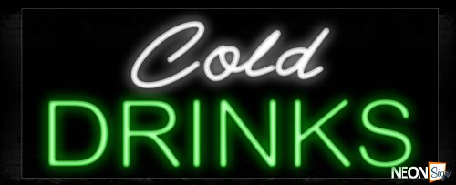 Image of 10222 Cold Drinks Neon Sign_13x32 Black Backing
