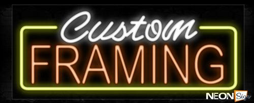 Image of 10224 Custom Framing With Yellow Border Neon Signs_13x27 Black Backing