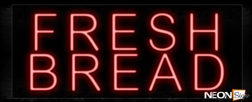 Image of 10244 Fresh Bread In Red Neon Signs_13x32 Black Backing