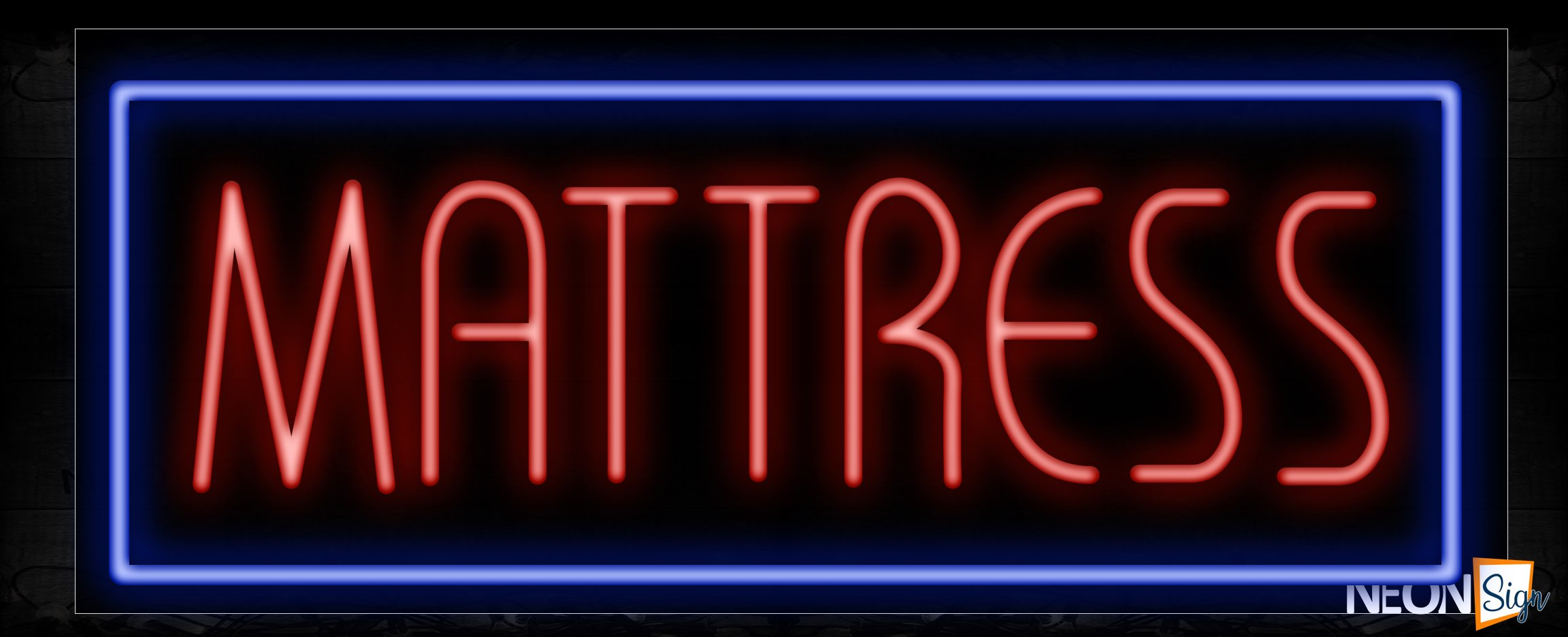 Image of 10260 Mattress in red with blue border Neon Sign_13x32 Black Backing