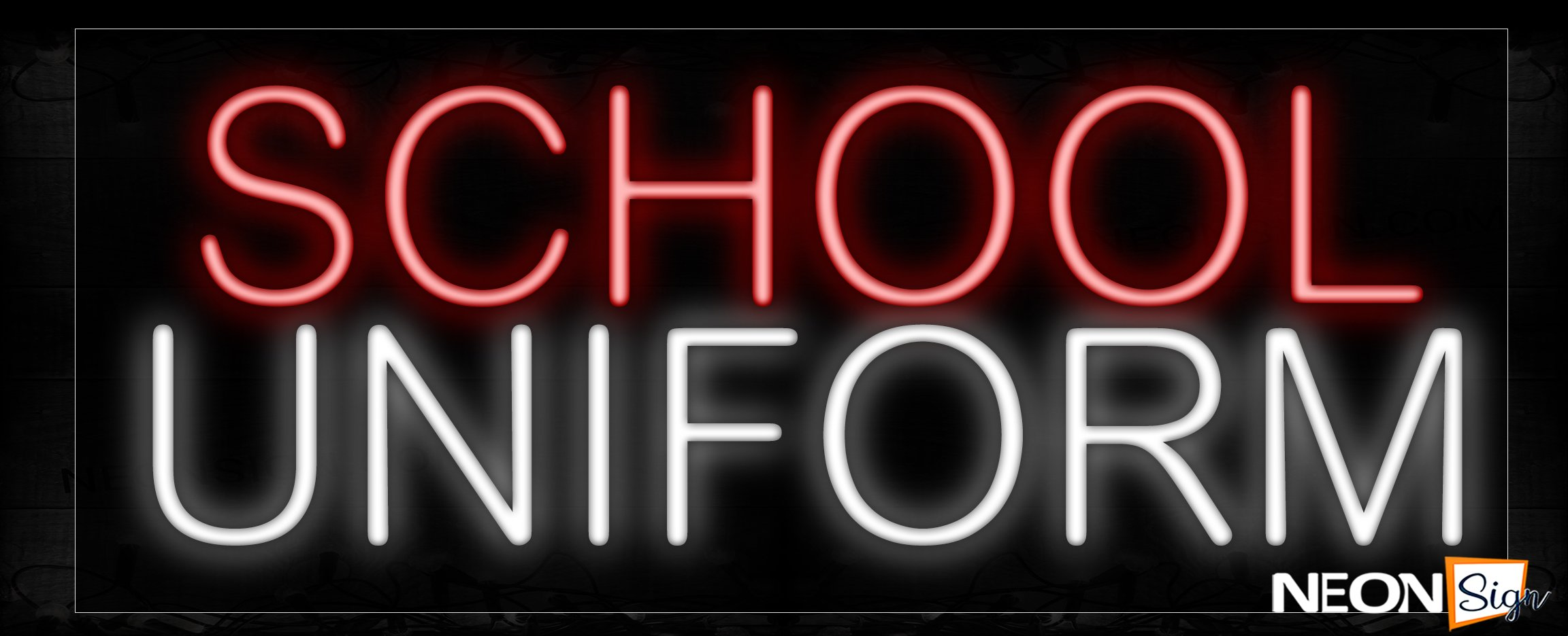 Image of 10289 School Uniforms Neon Signs_13x32 Black Backing