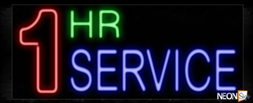 Image of 10290 1 HR SERVICE Neon Sign_13x32 Black Backing