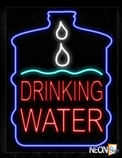 Image of 10394 Drinking Water With Blue Border Neon Signs_24x31 Black Backing
