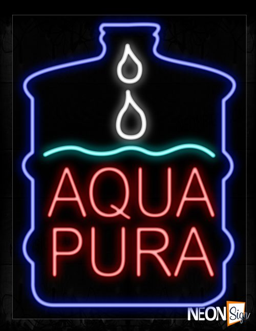 Image of 10395 Aqua Pura With Gallon Logo Neon Signs_24x31 Black Backing