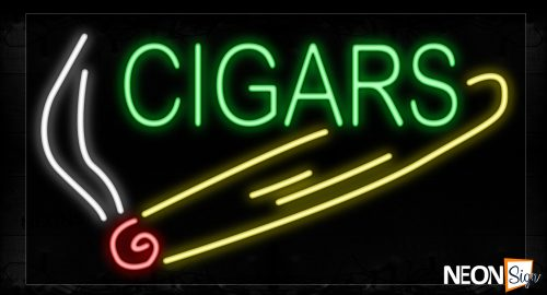 Image of 10419 Cigars In Green With Logo Neon Signs_20x37 Black Backing