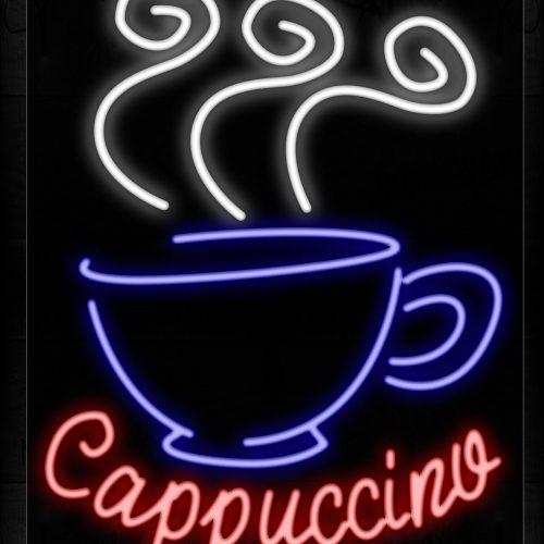 Image of 10427 Cappuccino With Cup Logo Neon Signs_24x31 Black Backing